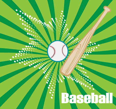 outfield: Green baseball banner with star.Vector illustration. Illustration