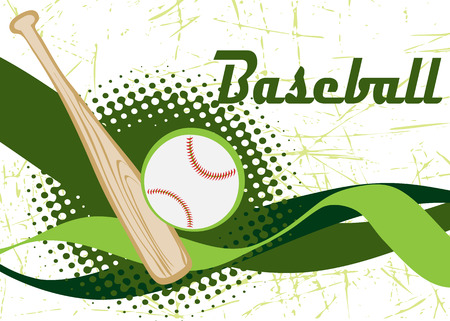 outfield: Baseball banner.Green background. Illustration