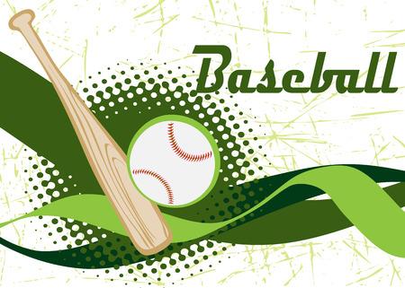 Baseball banner.Green background. Illustration