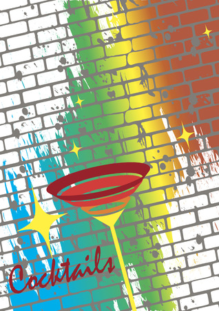 Cocktail poster.Retro background