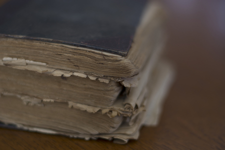 decrepitude: old book on a table