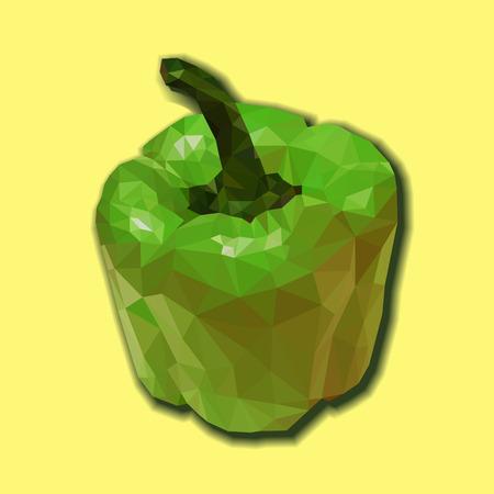 pimento: Green bell pepper (bulgarian pepper) vector isolated. Vector capsicum polygonal illustration. Green polygonal capsicum. Illustration