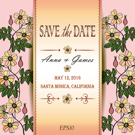 eglantine: Vector wedding invitation with eglantine. Vector card with briar (brier). Vintage vector card template. Save the date invitation at the tender rose background,