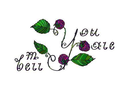 superscription: Vector floral love  summer lettering Illustration