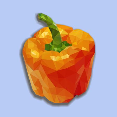 capsicum: Orange bell pepper (bulgarian pepper) vector isolated. Vector capsicum polygonal illustration. Orange polygonal capsicum. Illustration