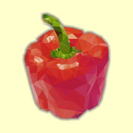 pimento: Red bell pepper (bulgarian pepper) vector isolated. Vector capsicum polygonal illustration.