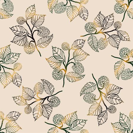 blackberries: Vector seamless golden pattern with blackberries Illustration