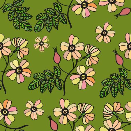 eglantine: Vector green vintage seamless pattern with pale eglantine roses. Floral texture, bouquet. Illustration