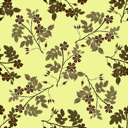 eglantine: Vector vintage seamless pattern with eglantine. Vector beige briar (brier) pattern