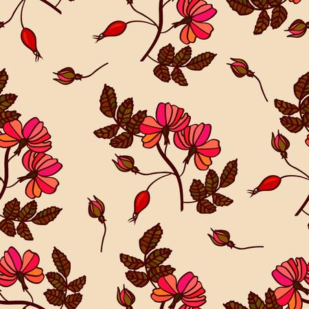 eglantine: Vector vintage seamless pattern with eglantine. Vintage briar (brier) background with roses