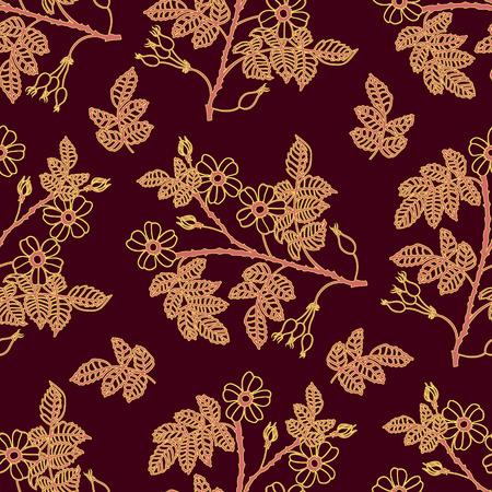 eglantine: Vector dark vinous seamless pattern with eglantine roses. Vector briar (brier) seamless background. Illustration