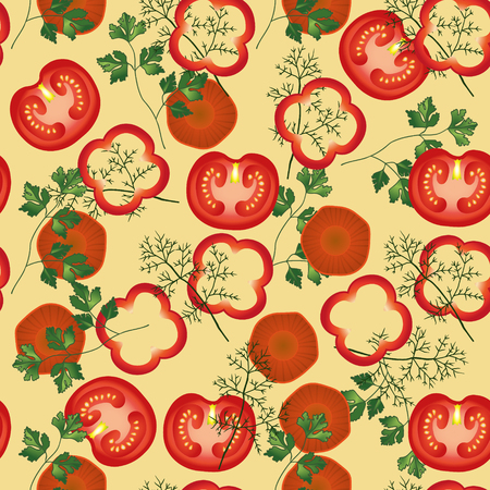 fennel: Tomato, parsley, carrot, fennel , pepper vector seamless pattern. Vegetable vegetarian template on the beige background. Vegetable mix slice, salad bar template.
