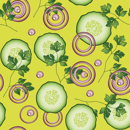 cucumber slice: Onion, cucumber, parsley vector seamless pattern. Vegetable vegetarian template on the yellow background. Slice salad bar template. Illustration