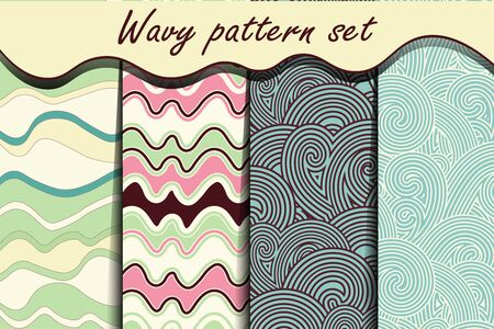 river water: Colorful cartoon waves seamless pattern set. Vector illustration for abstract aqua design. Endless texture can be used for fills, web page background, surface. Collection of wallpaper with waves.