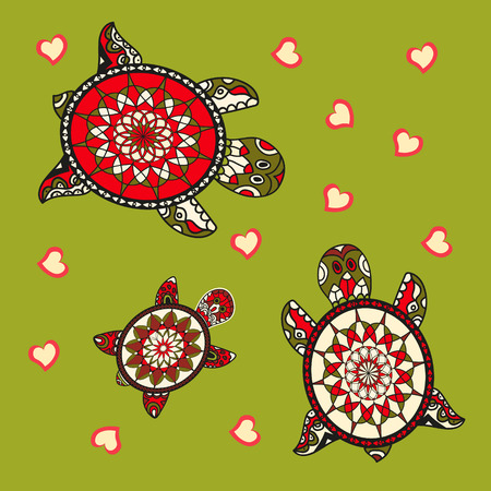 turtles love: Background with turtle. Family of sea turtles. Vector illustration. Animal love.