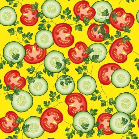 cucumber slice: Tomato, parsley cucumber vector seamless pattern. Vegetable vegetarian template on the yellow background. Vegetable mix slice, salad bar template.
