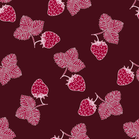 burgundy background: Simple seamless strawberry pattern. Template with delicious ripe strawberries on burgundy background. Vector.