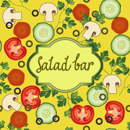cucumber salad: Salad bar template. Tomato, dill, carrot, olives, mushroom cucumber vector card. Organic Vegetable vegetarian mix on the yellow background for your restaurant design. Illustration