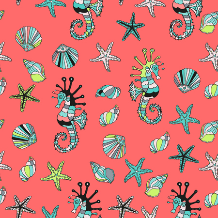 oceanside: Seamless pattern with sea shells, starfish and sea horse on a red background. Summer vector illustration. Cartoon design. Red sea.