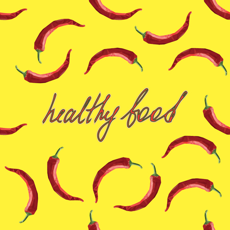 chilly: Green vector card design with polygonal red chilli and hand drawn text healthy food. Modern healthy food illustration. Chili pepper, chilli, chilly, chile template on a yellow background.