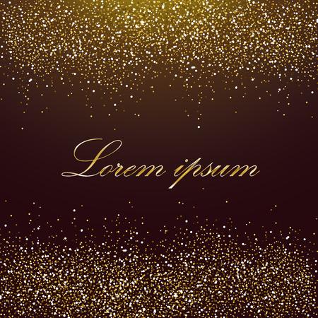 frame glitter or. fond d'or pour flyer, affiche, signe, bannière, web, en-tête. fond d'or pour le texte, le type, la citation. Or carte de flou. Modèle avec des étincelles d'or sur un fond de chocolat.