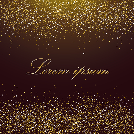 Gold glitter frame. Gold background for flyer, poster, sign, banner, web, header. Golden background for text, type, quote. Gold blur card . Template with golden sparkles on a chocolate background.
