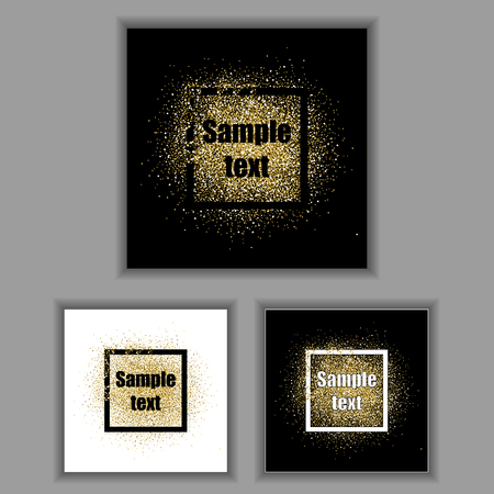 Gold glitter frames set. Gold background for flyer, poster, sign, banner, web, header. Abstract golden background for text, type, quote. Gold blur card collection. Square frames with golden sparkles. 矢量图像
