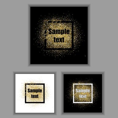 Gold glitter frames set. Gold background for flyer, poster, sign, banner, web, header. Abstract golden background for text, type, quote. Gold blur card collection. Square frames with golden sparkles. Ilustração