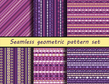 maya: Seamless vector texture set. The ancient Maya style. Peruvian pattern background with tribal shape elements. Vector.