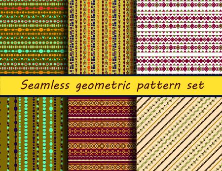 peruvian: Seamless geometric peruvian pattern set. Stylish navajo fabric. Modern abstract wallpaper. Vector illustration.