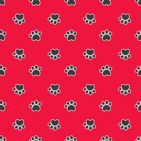 Vector colour illustration. Red seamless pattern with cat or dog footprints. Can be used for wallpaper, web page background, surface textures, cards and posters. Vetores