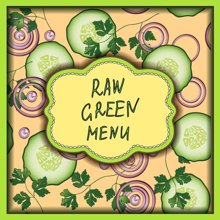 raw food: Green vector card design with colored vegetables and hand drawn text Raw green menu on the tender rose background. Modern healthy food illustration.