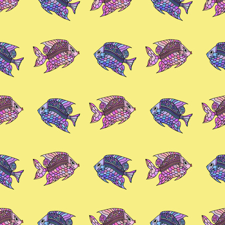 pond life: Seamless pattern with fishes on a blue background. Cartoon vector illustration. Fish love. Pattern with mosaic design.