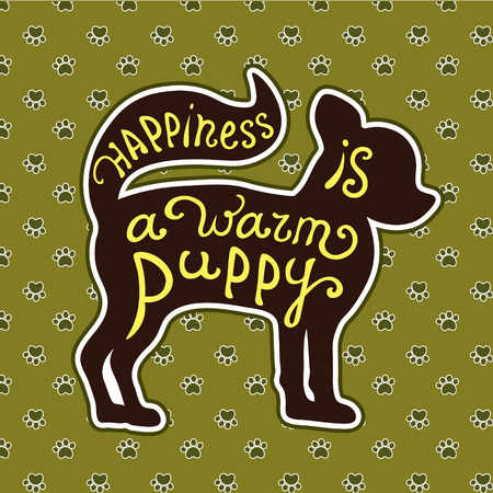puppy love: Handdrawn love dogs quote. Vector isolated typography design element for greeting cards, posters and print invitations. Lettering card with cute puppy on background with dog footprints.