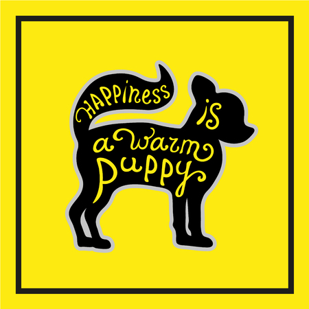puppy love: Handdrawn love dogs quote. Vector isolated typography design element for greeting cards, posters and print invitations. Lettering card with cute puppy on the yellow background.