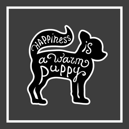 puppy love: Handdrawn love dogs quote. Vector isolated typography design element for greeting cards, posters and print invitations. Card with cute puppy on the grey background. Illustration