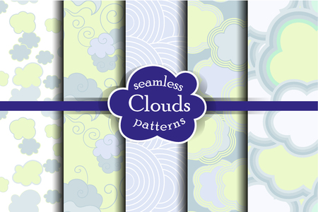 ether: Blue sky and clouds seamless pattern set. Vector illustration. Tender heaven collection.