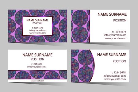 amaranthine: Purple business-card set with elegant round design.  Beautiful vector colorful stained glass styled pattern ornament for business card - banner template.