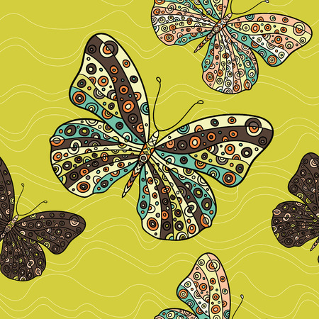swill: Seamless pattern with butterflies. Hand drawn vector butterfly illustration. Decorative abstract doodle design element.