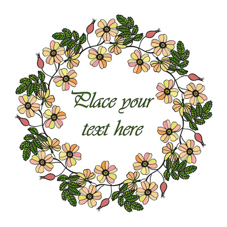 sorb: Vector round frame with the briar brier . Vector delicate eglantine frame. Invitation template card. Save the date vector circular illustration. Illustration