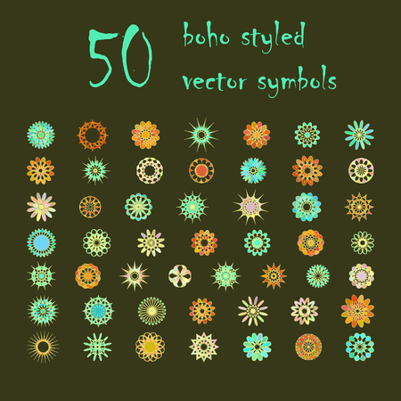 variegated: Big set of abstract design flowers. Vector illustration of circular colored variegated symbols. Spirograph boho styled colorful  elements