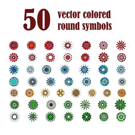 variegated: Big set of abstract design flowers. Vector illustration of circular colored variegated symbols. Spirograph colorful  elements