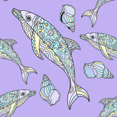 seamless dolphin pattern with  dolphin doodle illustrations. Indian tribal design. Illustration