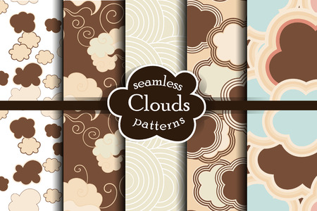 ether: Chocolate cartoon sky and clouds seamless pattern set. illustration. Heaven collection.
