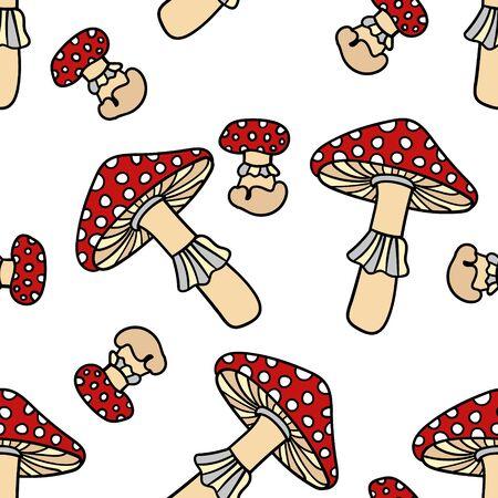 grebe: Mushroom seamless pattern. Cute cartoon animal background. Boho striped.