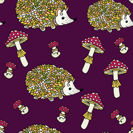 grebe: Seamless pattern with hedgehogs and mushrooms. Cute cartoon animal background. Boho striped.