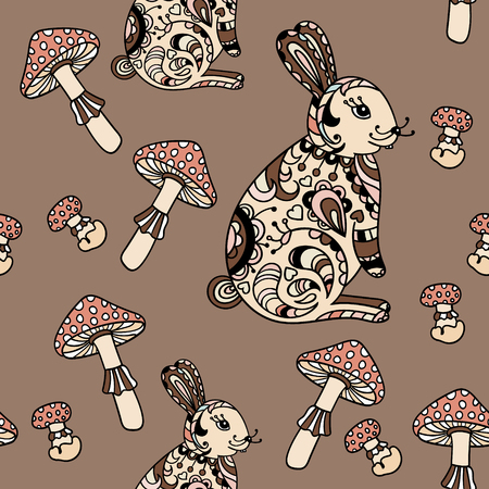 grebe: Seamless pattern with mushroom and bunny. Cute cartoon animal background. Boho striped.
