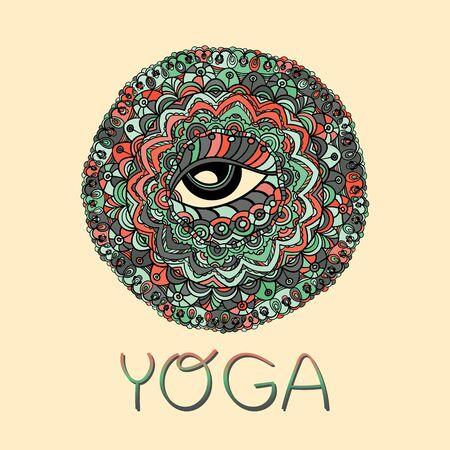 all seeing eye: Mystical Vector Mandala. Hand drawn Round Ornament Pattern. Islam, Arabic, Indian, ottoman motifs. The all seeing eye. Yoga design.
