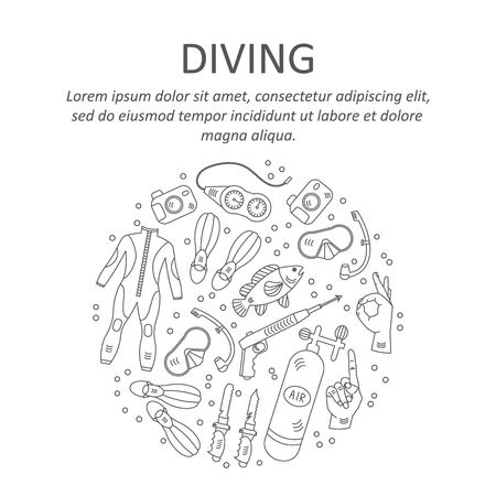 harpoon: Vector card with diving equipment. Diving line icons of scuba, oxygen balloon, diver knife, harpoon, spear gun, gauge, camera.