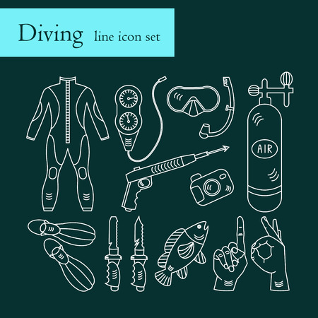 harpoon: Vector line icons with diving equipment. Linear icons of scuba, oxygen balloon, diver knife, harpoon, spear gun, gauge, camera.
